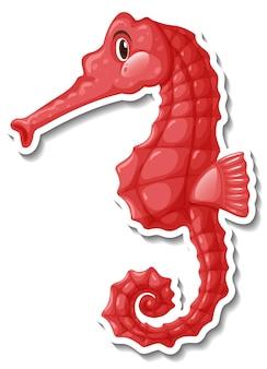 Śliczna naklejka z koniem morskim z kreskówkowym zwierzęciem morskim