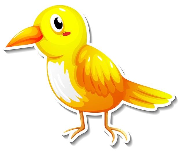 Śliczna naklejka ze zwierzętami z kreskówek z małym ptaszkiem