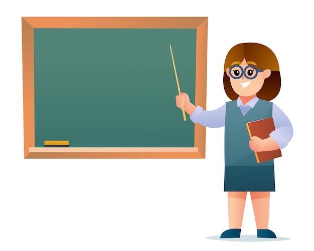Śliczna nauczycielka postać z kreskówki
