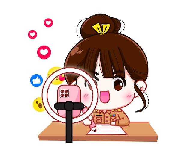 Śliczna nauczycielka w mundurze rządowym używa telefonu komórkowego na żywo, aby uczyć ilustracji kreskówek postaci z edukacji online