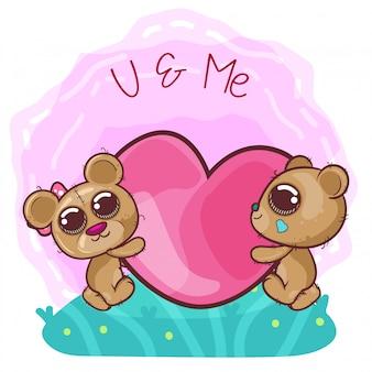 Śliczna niedźwiadkowa dziewczyna i chłopiec z sercami - ilustracja