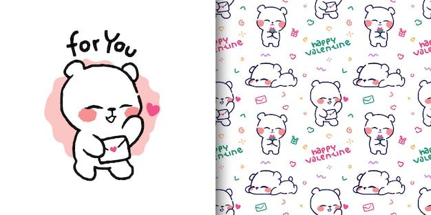 Śliczna niedźwiadkowa ilustracja z listem miłosnym i bezszwowymi deseniowymi projektami