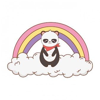 Śliczna niedźwiadkowa panda w chmurach z tęczą