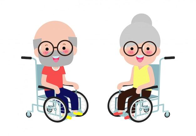 Śliczna niepełnosprawna starsza para siedzi na wózku inwalidzkim, osoba niepełnosprawna. kolorowa mieszkanie stylu kreskówki ilustracja odizolowywająca na białym tle