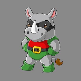 Śliczna nosorożec super bohater kreskówka, ręcznie rysowane
