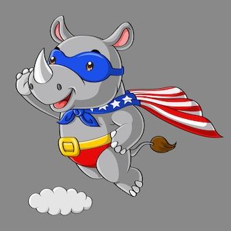 Śliczna nosorożec super bohatera kreskówka, latający w niebie, ręka rysująca