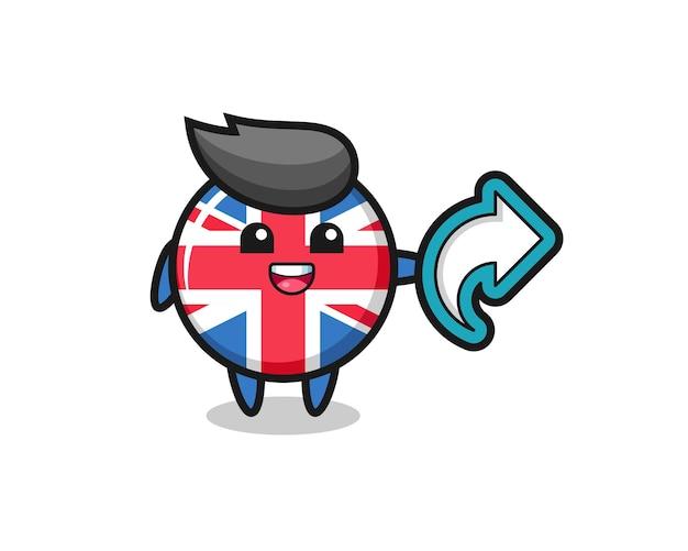 Śliczna odznaka flaga zjednoczonego królestwa przytrzymaj symbol udostępniania mediów społecznościowych, ładny styl dla t shirt, naklejki, element logo