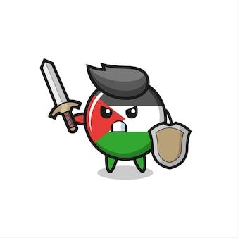Śliczna odznaka flagi palestyny żołnierz walczący z mieczem i tarczą, ładny styl na koszulkę, naklejkę, element logo