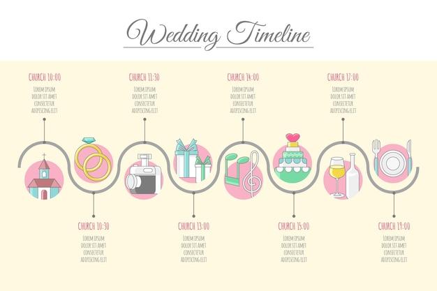 Śliczna oś czasu ślubu w stylu liniowym