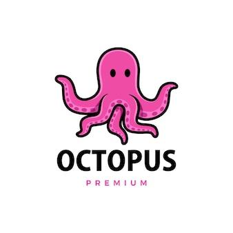 Śliczna ośmiornica kreskówka ikona ilustracja logo