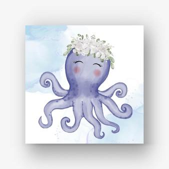 Śliczna ośmiornica z kwiatową białą akwarelową ilustracją