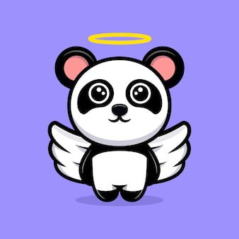 Śliczna panda anioł kreskówka maskotka