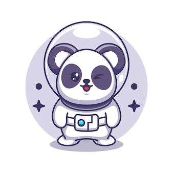 Śliczna panda astronauta ilustracja kreskówka