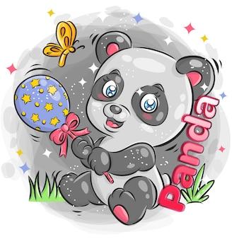 Śliczna panda bawić się zabawki z rozochoconym wyrażeniem kolorowa kreskówki ilustracja.