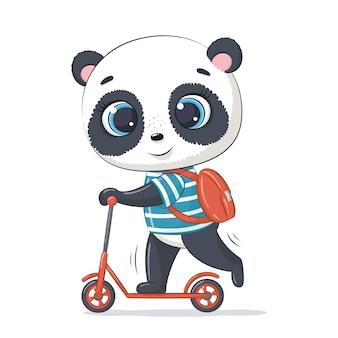 Śliczna panda dla niemowląt na hulajnodze. ilustracja na chrzciny, kartkę z życzeniami, zaproszenie na imprezę, nadruk koszulki z modnymi ubraniami.