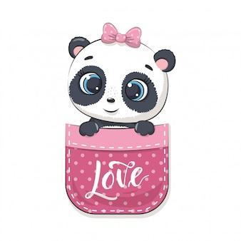 Śliczna panda dla niemowląt w kieszeni. ilustracja na chrzciny, kartkę z życzeniami, zaproszenie na przyjęcie, nadruk koszulki z modnymi ubraniami.