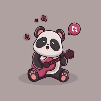 Śliczna panda gra na gitarze na białym tle