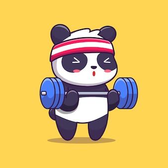Śliczna panda gym ilustracja. sport zwierząt. płaski styl kreskówek
