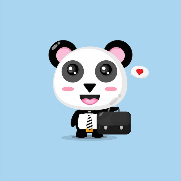 Śliczna panda idzie do pracy