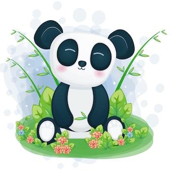 Śliczna panda ilustracja usiąść na trawie