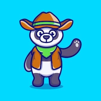 Śliczna panda ilustracja w kowbojskich ubraniach