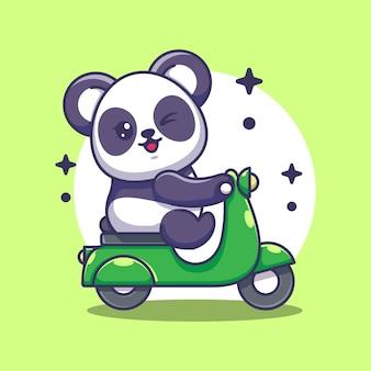 Śliczna panda jazda na skuterze kreskówka