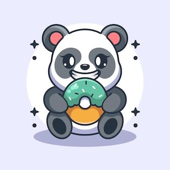 Śliczna panda jedząca kreskówka pączka