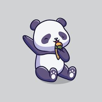 Śliczna panda jedzenie lody ilustracja kreskówka