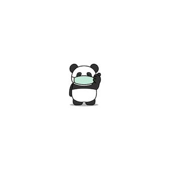 Śliczna panda jest ubranym medyczną maskę i daje aprobatom