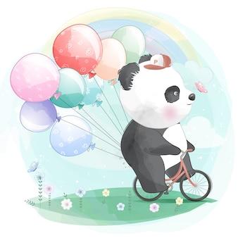 Śliczna panda jeździ na rowerze