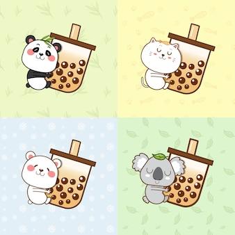 Śliczna panda, kot, niedźwiedź polarny, koala przytulająca filiżankę z bąbelkami.
