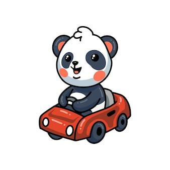 Śliczna panda kreskówka prowadząca czerwony samochód