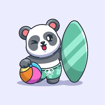 Śliczna panda letnia ikona ilustracja