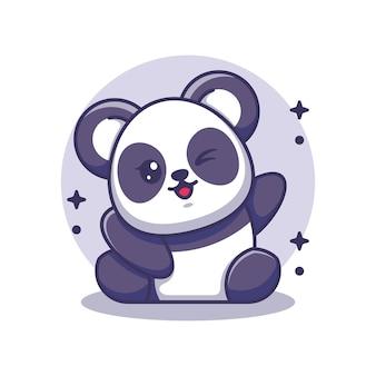 Śliczna panda macha ręką
