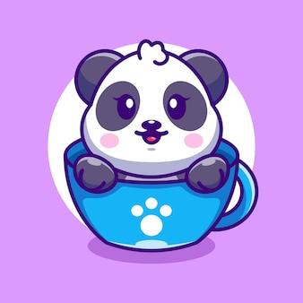 Śliczna panda na filiżance kawy kreskówka