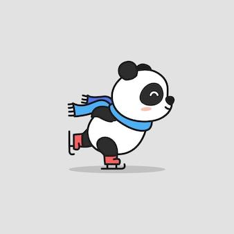 Śliczna panda na łyżwach kreskówka