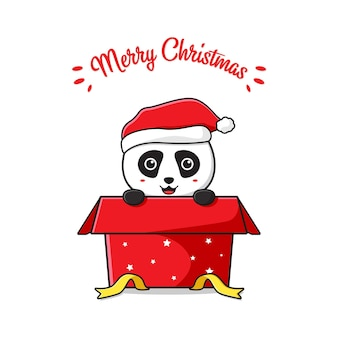 Śliczna panda na pudełku pozdrowienie wesołych świąt kreskówka doodle ilustracja tło karty