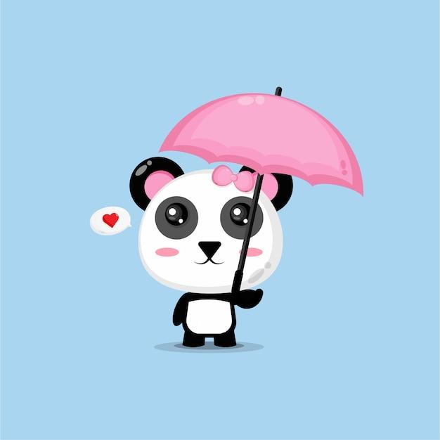 Śliczna panda niosąca różowy parasol