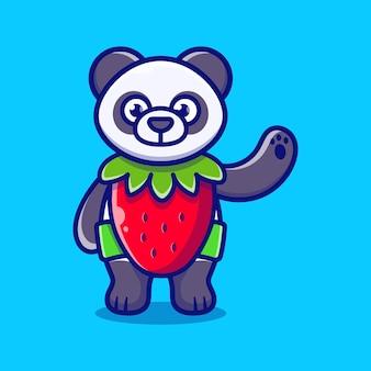 Śliczna panda nosi kostium truskawkowy