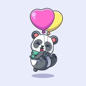 Śliczna panda pływająca z balonową kreskówką