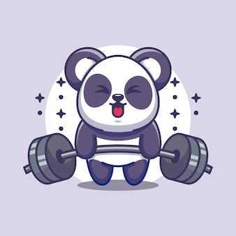 Śliczna panda podnosząca ciężary kreskówka