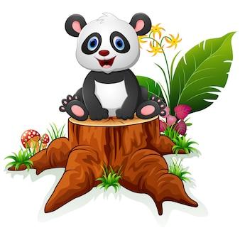 Śliczna panda siedzi na drzewnym fiszorku
