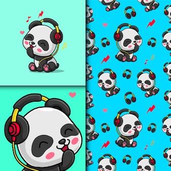 Śliczna panda słuchająca muzyki przez słuchawki. wzór i karta.