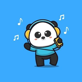 Śliczna panda słuchająca muzyki w słuchawkach