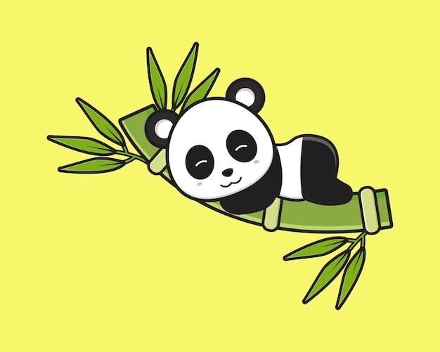 Śliczna panda spać na bambusowej ikonie kreskówki. zaprojektuj na białym tle płaski styl kreskówki