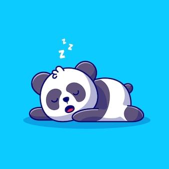 Śliczna panda spanie ikona ilustracja kreskówka. koncepcja ikona natura zwierząt na białym tle. płaski styl kreskówki