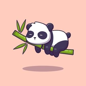 Śliczna panda śpi bambusową kreskówki ikony ilustrację. koncepcja ikona zwierzę na białym tle. płaski styl kreskówek