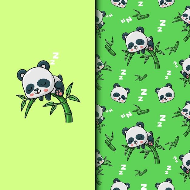 Śliczna panda śpi na bambusowym drzewie. wzór.