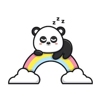 Śliczna panda śpi na ilustracji kreskówki tęczy