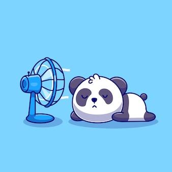 Śliczna panda śpi przed ikoną kreskówki wentylatora ilustracja. koncepcja ikona technologii zwierząt na białym tle. płaski styl kreskówki